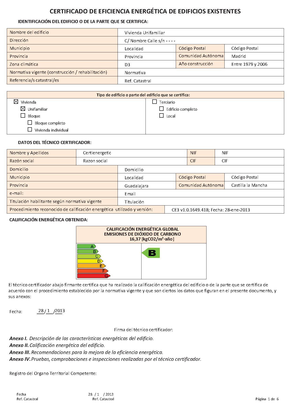 certificación energética certienergetic